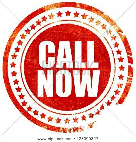 call now, grunge red rubber stamp with rough lines and edges