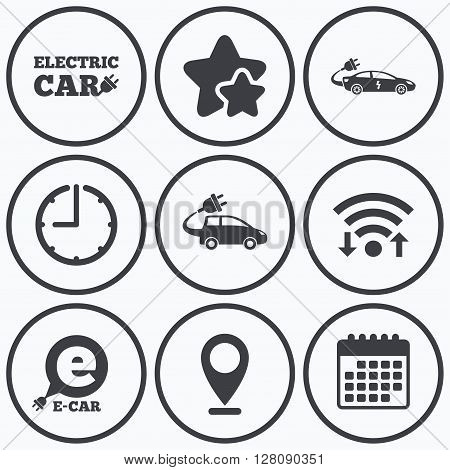 Clock, wifi and stars icons. Electric car icons. Sedan and Hatchback transport symbols. Eco fuel vehicles signs. Calendar symbol.