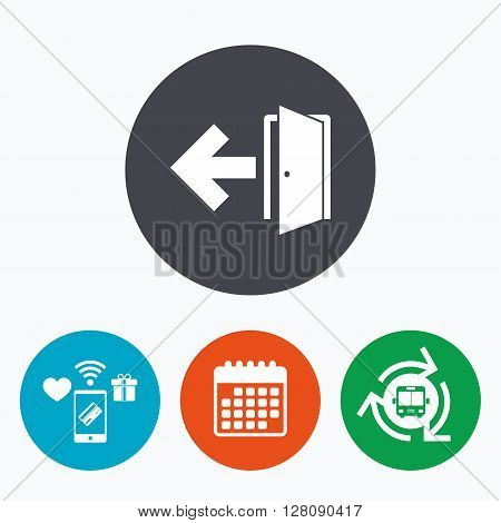 Emergency exit sign icon. Door with left arrow symbol. Fire exit. Mobile payments, calendar and wifi icons. Bus shuttle.