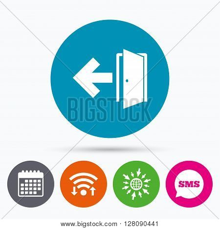 Wifi, Sms and calendar icons. Emergency exit sign icon. Door with left arrow symbol. Fire exit. Go to web globe.