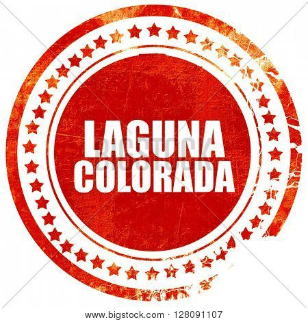 Laguna colorada, grunge red rubber stamp with rough lines and ed
