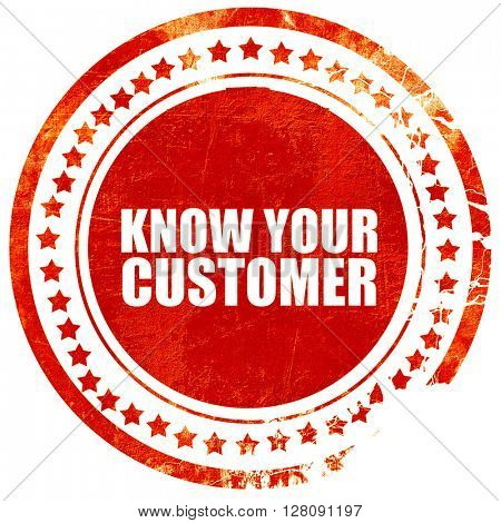 know your customer, grunge red rubber stamp with rough lines and