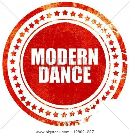 modern dance, grunge red rubber stamp with rough lines and edges