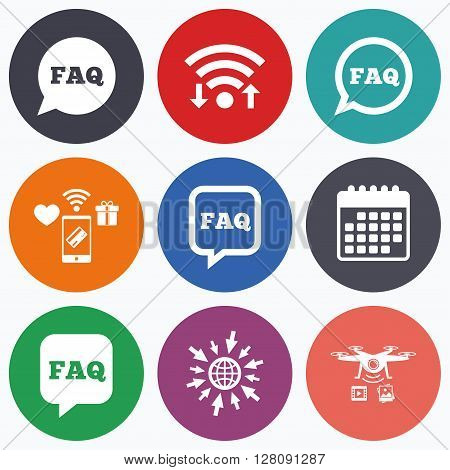 Wifi, mobile payments and drones icons. FAQ information icons. Help speech bubbles symbols. Circle and square talk signs. Calendar symbol.