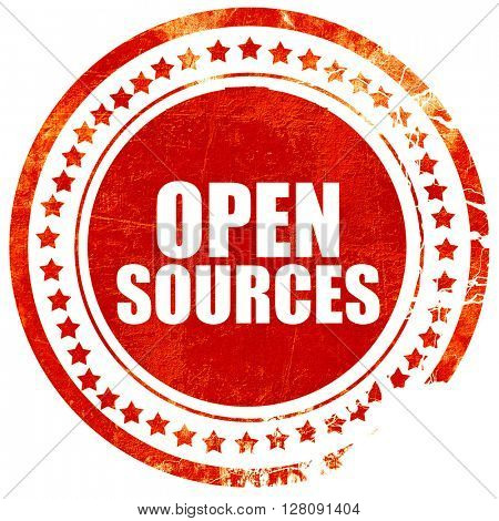 open sources, grunge red rubber stamp with rough lines and edges