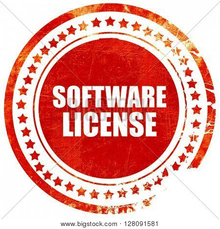 software license, grunge red rubber stamp with rough lines and e