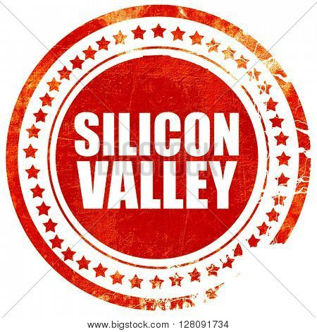 silicon valley, grunge red rubber stamp with rough lines and edg