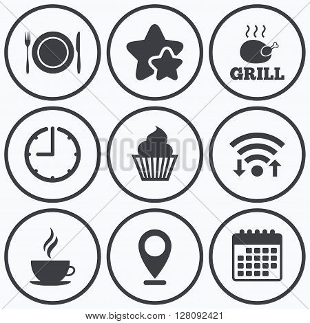 Clock, wifi and stars icons. Food and drink icons. Muffin cupcake symbol. Plate dish with fork and knife sign. Hot coffee cup. Calendar symbol.