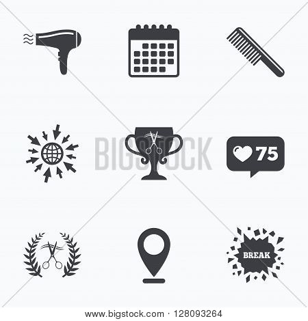Calendar, like counter and go to web icons. Hairdresser icons. Scissors cut hair symbol. Comb hair with hairdryer symbol. Barbershop laurel wreath winner award. Location pointer.
