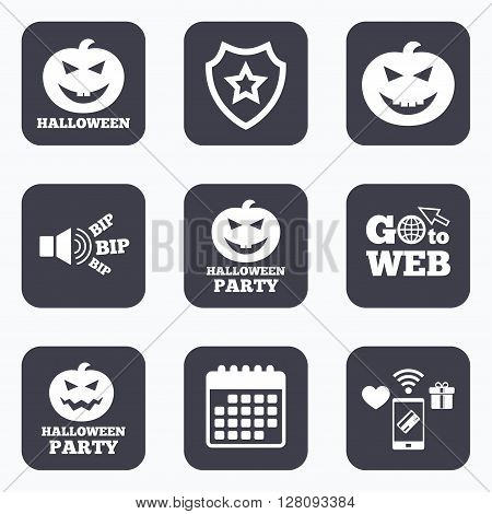 Mobile payments, wifi and calendar icons. Halloween pumpkin icons. Halloween party sign symbol. All Hallows Day celebration. Go to web symbol.