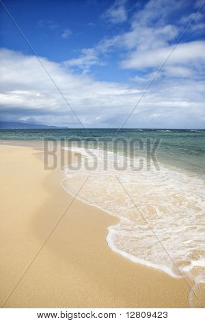 Tropical beach with wave receding from shore in Maui, Hawaii, USA.