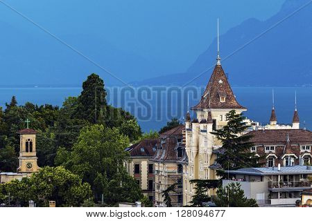 Lausanne architecture and Lake Geneva. Lausanne Vaud Switzerland.