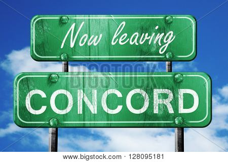 Leaving concord, green vintage road sign with rough lettering