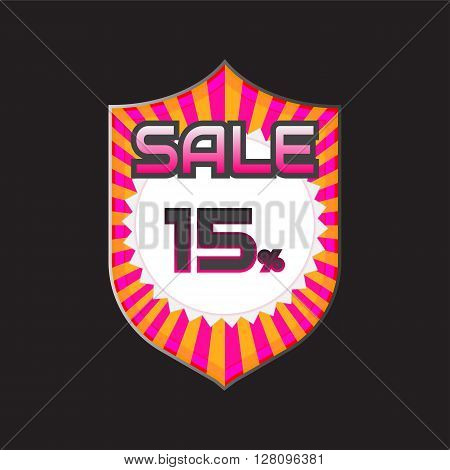 Sale discount labels. Special offer price signs. 15 percent off reduction symbol.