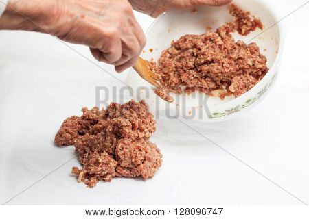 Stuffed meatloaf preparation : Mix of bread and meat for the stuffed meatloaf