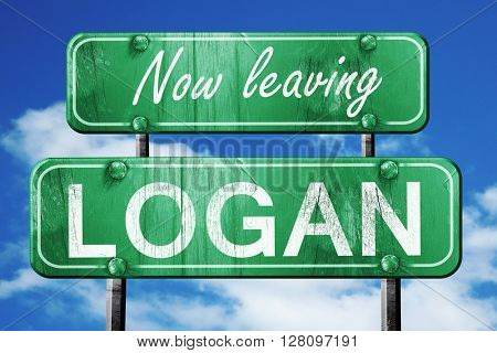 Leaving logan, green vintage road sign with rough lettering