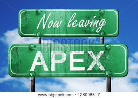 Leaving apex, green vintage road sign with rough lettering