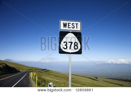 Highway 378 West road sign in Haleakala National Park, Maui, Hawaii.