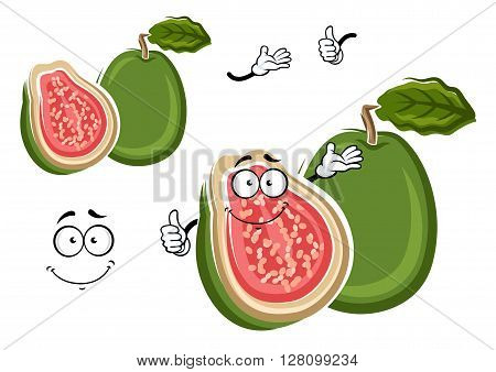Juicy tropical apple guava fruit cartoon character with green rough peel and cross section with delicate pink flesh and happy smiling face on the cut. May be use as exotic dessert recipe, agriculture or kitchen interior design usage
