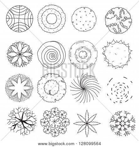 set of treetop symbols for architectural or landscape design.