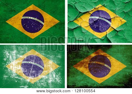 Brasil flag collection. 4 different flags on white background