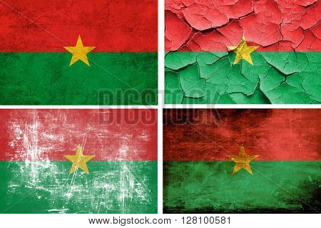 Burkina Faso flag collection. 4 different flags on white backgro