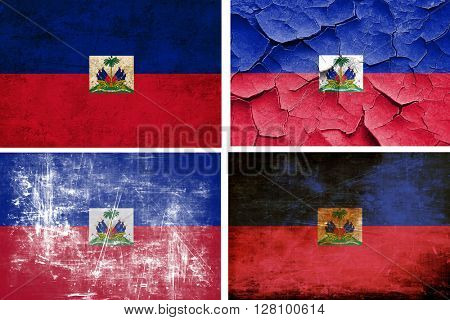 Haiti flag collection. 4 different flags on white background