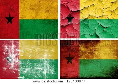 Guinea bissau flag collection. 4 different flags on white backgr