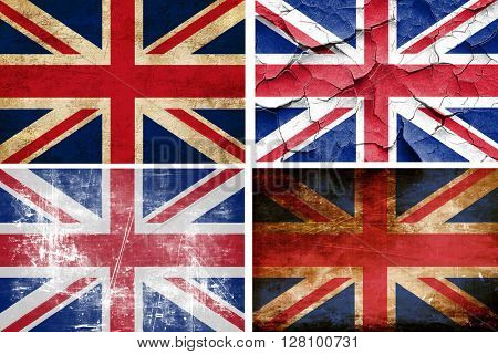 Great britain flag collection. 4 different flags on white backgr