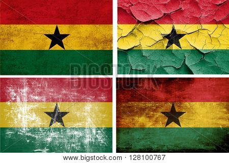 Ghana flag collection. 4 different flags on white background