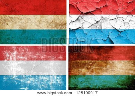 Luxembourg flag collection. 4 different flags on white backgroun