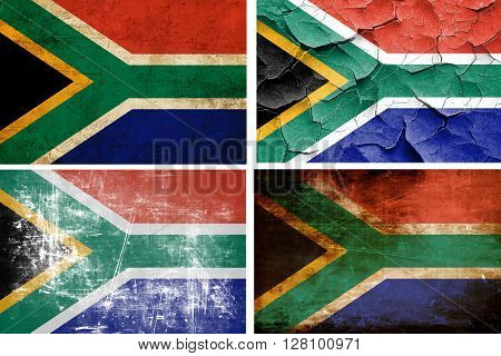 South africa flag collection. 4 different flags on white backgro