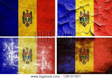 Moldova flag collection. 4 different flags on white background