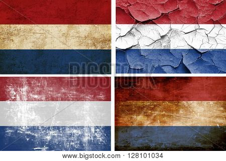 Netherlands flag collection. 4 different flags on white backgrou
