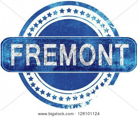 fremont grunge blue stamp. Isolated on white.