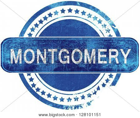 montgomery grunge blue stamp. Isolated on white.