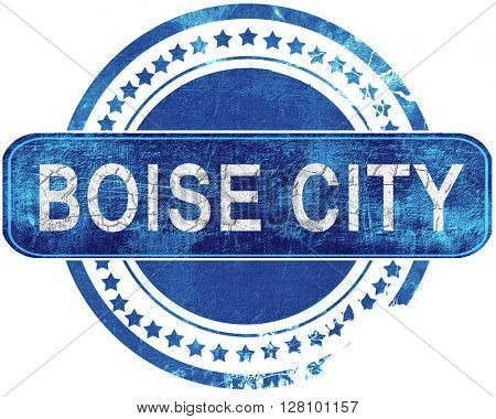 boise city grunge blue stamp. Isolated on white.