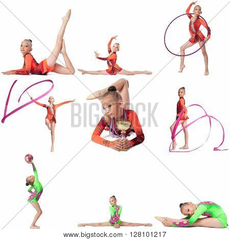 Young champion in rhythmic gymnastics. Collage of many photos
