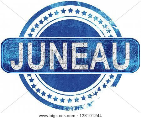 juneau grunge blue stamp. Isolated on white.