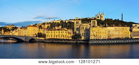 Basilica of Notre-Dame de Fourviere and Lyon Cathedral in the morning. Lyon Rhone-Alpes France.