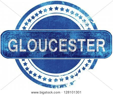 gloucester grunge blue stamp. Isolated on white.