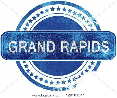 grand rapids grunge blue stamp. Isolated on white.