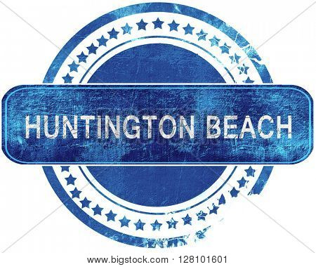 huntington beach grunge blue stamp. Isolated on white.