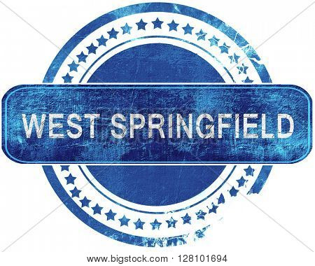 west springfield grunge blue stamp. Isolated on white.