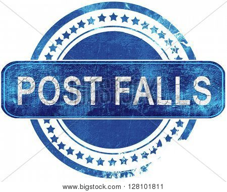 post falls grunge blue stamp. Isolated on white.