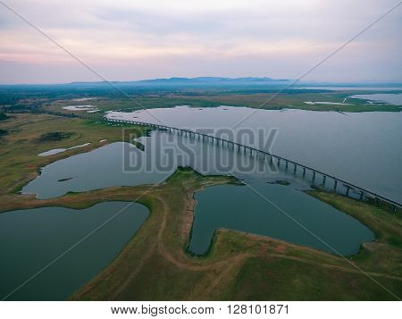 aerial view of railway crossing pasak dam in lopburi central of thailand