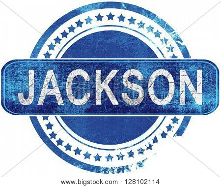 jackson grunge blue stamp. Isolated on white.