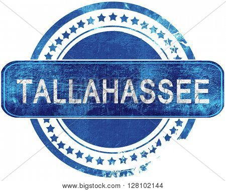 tallahassee grunge blue stamp. Isolated on white.