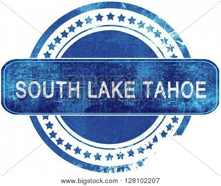 south lake tahoe grunge blue stamp. Isolated on white.
