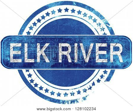 elk river grunge blue stamp. Isolated on white.
